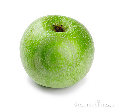 Ripe and juicy green apple a shank downwards