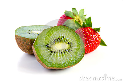 Ripe and juicy kiwi and strawberry close-up