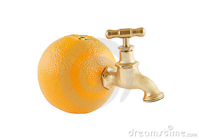 Ripe juicy orange with faucet