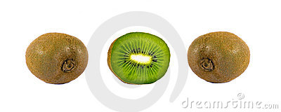 Ripe kiwi fruit whole and cut
