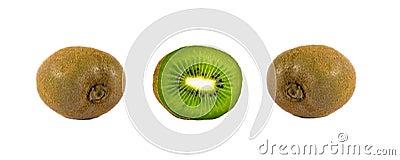 Ripe kiwi fruit whole and cut