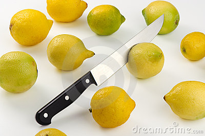 Ripe lemons and sharp knife