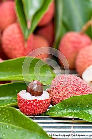 Ripe lychee fruit