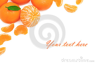 Ripe mandarins on white background (with sample text)