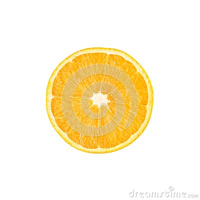 Free Ripe Orange Cut In Half Isolated Over The White Stock Photography - 57376912