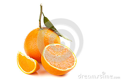 Ripe orange fruit with leaf