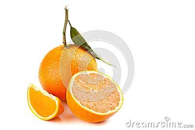 Ripe orange fruit with leaf