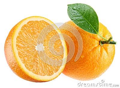 Ripe orange and its half with leaf.