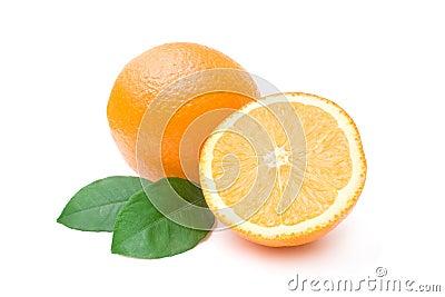 Ripe oranges isolated on white