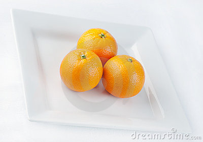Ripe oranges on plate