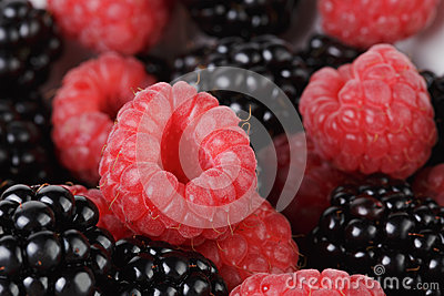 Ripe organic blackberries and raspberries