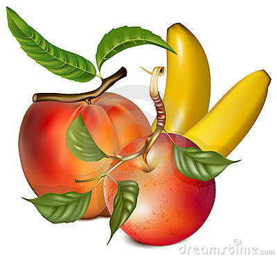 Ripe peach, apple and banana.
