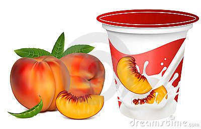 Ripe  peaches falling into the milky splash.