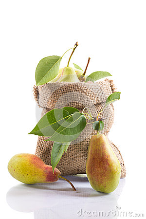 Ripe pears in a bag