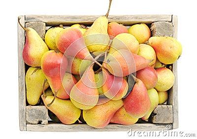 Ripe pears in a box.