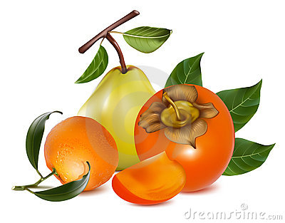 Ripe pears, persimmon and tangerine fruits.