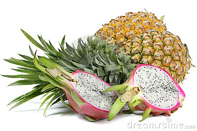 Ripe Pineapple and Pitaya