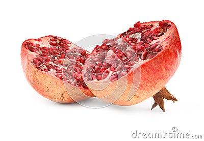 Ripe pomegranate fruit on white