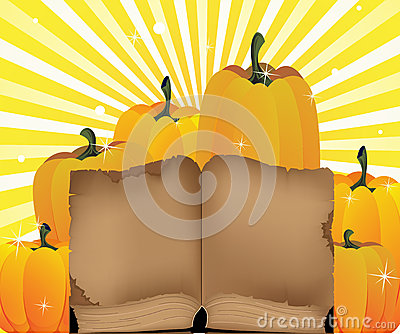 Ripe pumpkins and the old book