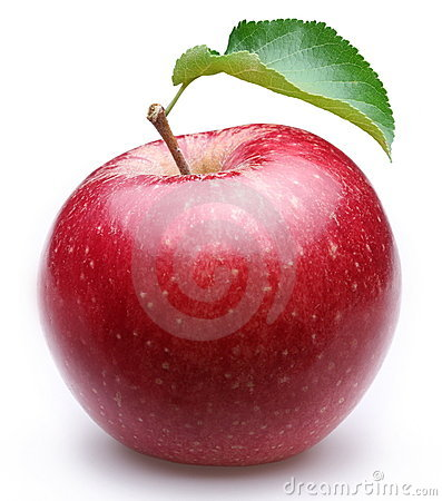 Free Ripe Red Apple With A Leaf. Stock Image - 16354471