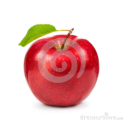 Free Ripe Red Apple With Green Leaf Royalty Free Stock Images - 61560739