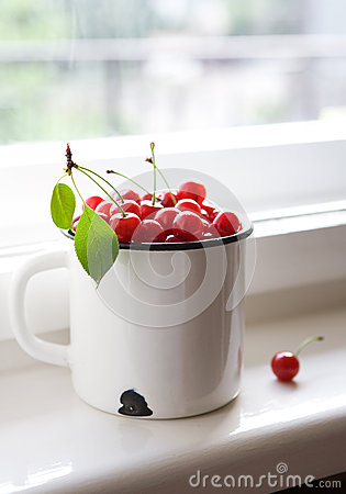 Ripe red cherries