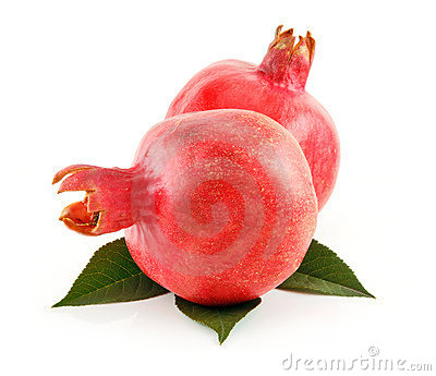 Ripe Red Pomegranates Fruits with Leaves Isolated