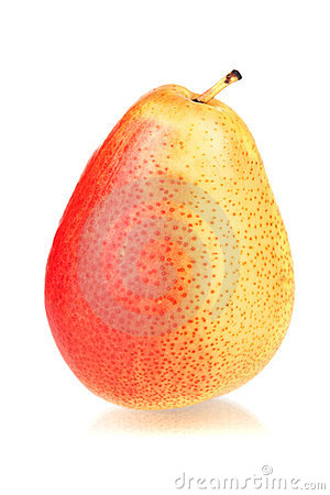 A ripe red and yellow pear