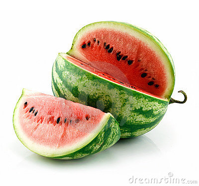 Free Ripe Sliced Green Watermelon Isolated On White Royalty Free Stock Images - 10759029