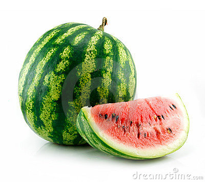 Free Ripe Sliced Green Watermelon Isolated On White Stock Photo - 10759580