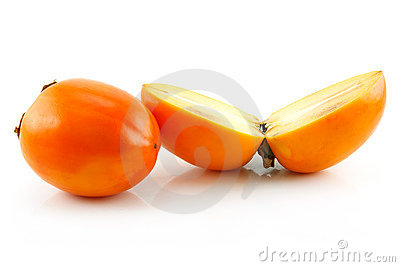 Ripe Sliced Persimmon Fruit Isolated