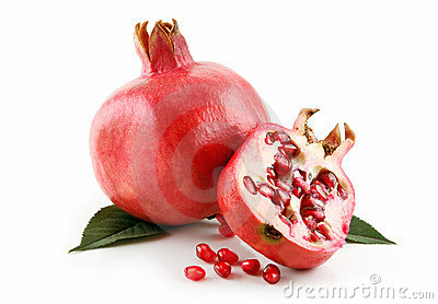 Ripe Sliced Pomegranate Fruit with Seeds Isolated