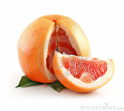 Ripe Sliced Wet Grapefruit with Leaves Isolated