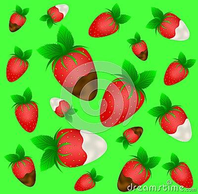 Ripe strawberry in chocolate and cream