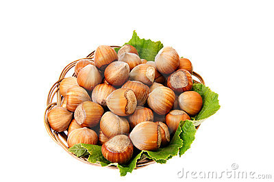 Ripe,tasty hazelnuts on a white.