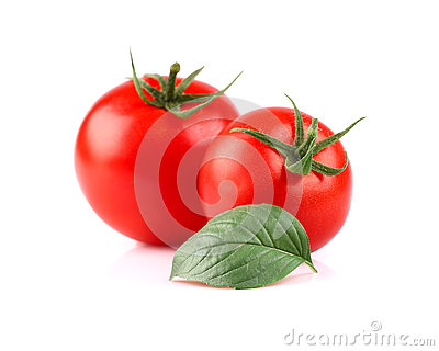 Ripe tomato with basil