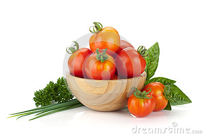 Ripe tomatoes, basil and parsley