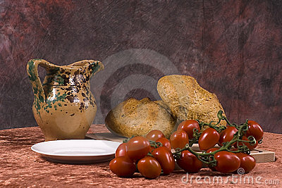 Ripe tomatoes and fresh bread