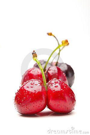 Ripen cherries against white background