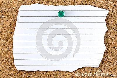Ripped Blank White Striped Sheet Cork Board Pushpin