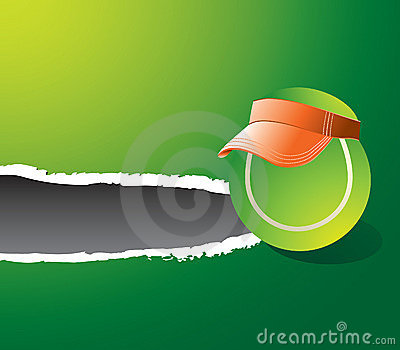 Ripped green banner with tennis ball wearing visor