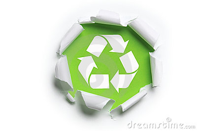 Ripped paper with recycle logo