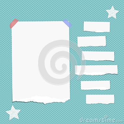 Free Ripped White Note, Notebook, Copybook Paper Strips Stuck With Sticky Tape, Stars On Squared Blue Background. Royalty Free Stock Images - 92916289