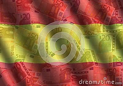 Rippled Euros and Spanish flag