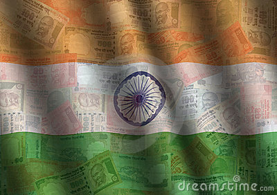 Rippled Rupee And Indian Flag Royalty Free Stock Photography - Image: 6092627