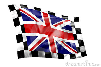 Rippled Union Jack flag with chequered border
