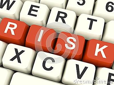 Rischi i tasti di calcolatore che mostrano il pericolo e l incertezza
