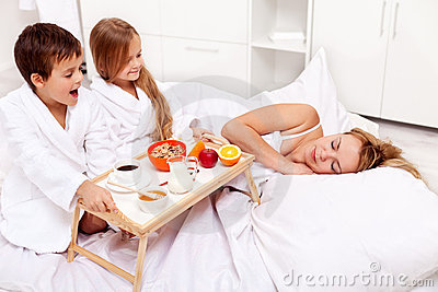 Rise and shine - breakfast in bed for mom