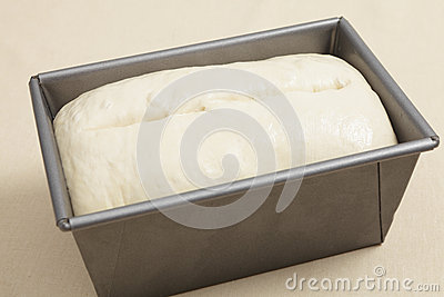Risen bread dough in a tin