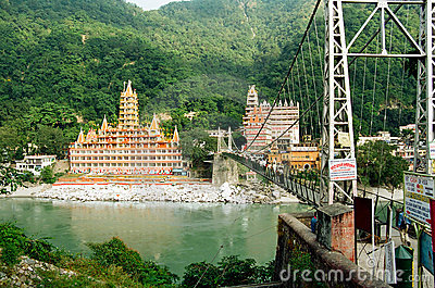 Rishikesh Lakshman Jhula Bridge, India Editorial Photography